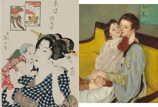 "Left: detail of Kikukawa Eizan, ""Otome"" (c. 1818–23), woodblock print, ink and color on paper; right: Mary Stevenson Cassatt, ""Maternal Caress"" (c. 1902), oil on canvas"