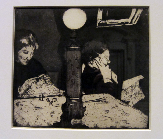 "Mary Cassatt, ""Under the Lamp"" (1883), softground and aquatint"