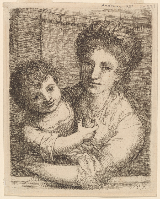 """Half-length Portrait of a Woman, with a Child Holding an Apple"" (1763), etching"