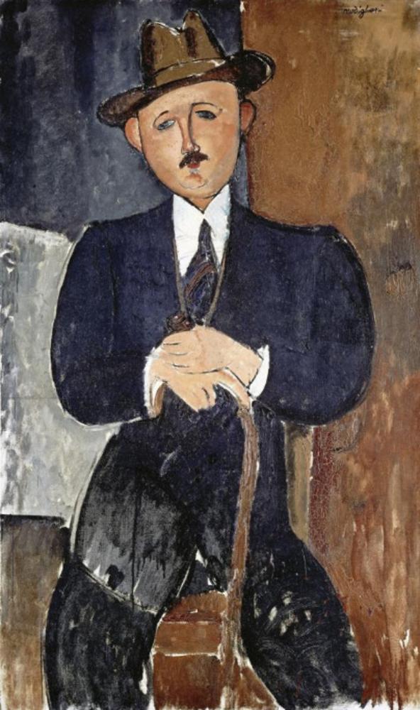 """Seated Man with a Cane"", Amedeo Modigliani"