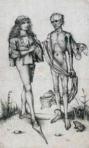 """Mestre del Llibre de la Raó, """"El jove i la Mort"""",  gravat, 1485-1490"""