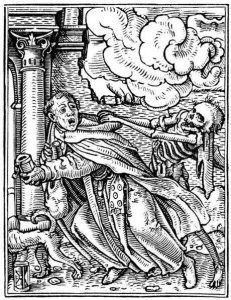 """Hans Holbein, """"La muerte llevándose a un religioso"""", xilografía, 1530"""