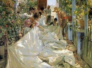 """Joaquín Sorolla, """"Cosint la vela"""", pintura a l'oli, 1897"""