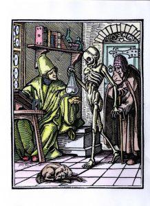 """Hans Holbein, """"La Muerte y el médico"""", de la Danza de la Muerte, 1538"""