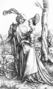 "Albrecht Dürer, ""El Paseo amoroso"", aguafuerte, c. 1498"